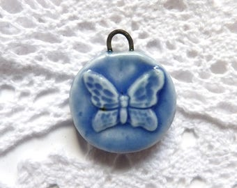 Butterfly charm for jewellery making , ceramic charms, handmade clay beads, butterflies rustic boho, unique jewelry supplies, craft supply