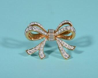 Vintage Swarovski Bow Brooch - Austrian Crystal Rhinestone - Bridal Fashions 1990s Retired