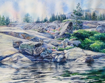 Landscape Watercolor Painting/ ORIGINAL Art/ Silver Lake/ Sierras/ California/ Mountains/ Rocks/ OlenaBacasArt