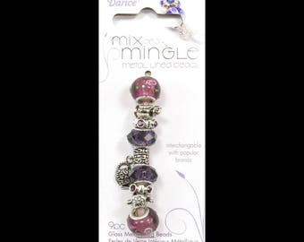Mix and Mingle Tea Party Theme Pack Metal Lined Glass Beads and Charms