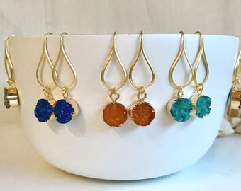 Colorful Druzy Drop Earrings. Dangle Earrings. Druzy Earrings.  Gift for Her. Druzy Jewelry. Christmas Gift. Holiday Gift. Jewelry Gift.