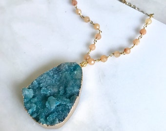 Long Teal Druzy Necklace. Teal Druzy and Oamge Jade Necklace with Beaded Chain. Unique Jewelry Gift for Her. Holiday Gift. Druzy Quartz