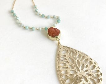 Druzy Necklace. Long Coral Druzy and Aqua Stone Beaded Necklace. Bohemian Jewelry. Unique Jewelry. Gift. Druzy Quartz. Boho Necklace.