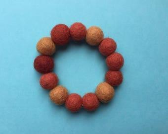 Orange felt bracelet, brown felt bracelet, felt bracelet, felt ball bracelet, wool bead bracelet, stretch bracelet, orange bracelet