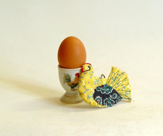 Yellow Hen craftsman style textile housewarming ornament