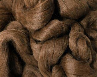 Alpaca Fiber Roving Top Dark Brown Superfine, 100 Grams, Spinning, Hearts Desire Fiber