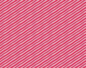 Blend Fabrics. Vintage Noel Candy Stripe Red - BTY Cotton Fabric - Choose your cut