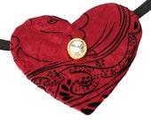Eye Patch Heart Gem Rhinestone Steampunk Fantasy Pirate Fashion Red Black