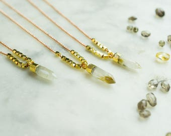 Quartz Point Necklace, Layering Necklace, Gold Plated, Gemstone Pendant , Boho Necklace, Copper Ball Chain, 32 Inch Chain