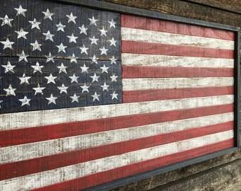 Rustic Wood American Flag  #553
