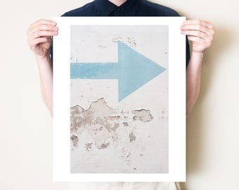 Graphic arrow photograph, blue arrow decor. Graphic art print, oversized wall artwork. Urban photography print from 5x7, 8x10, up to 30x40