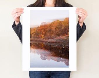Autumnal landscape print, Fall foliage double exposure photograph, lake trees reflection fine art photography, ethereal orange art.