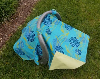 Baby Car Seat  Canopy - Blue Flowers