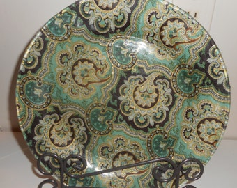 """Fabric backed plates, 10.5"""" dinner plate, dinnerware, plate, dishes, Display plate. dining, Made to order"""