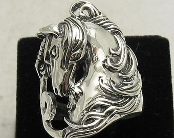 Sterling silver ring solid 925 horse unicorn pendant