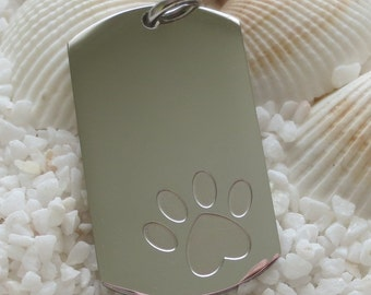 Stainless Steel Paw Print Dog Tag Pendant - 35mm x 21mm - 1 pc