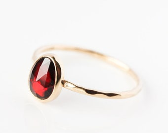 Rose cut garnet and 14k gold ring, January birthstone, red gemstone, garnet engagement ring, color engagement ring, red garnet gold ring