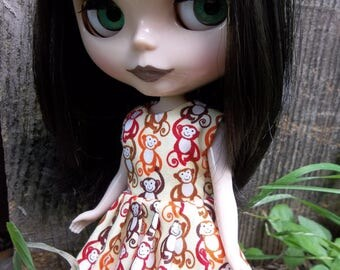 "Barrel of monkeys Dress, Fits 12"" Blythe or Girl Makie Doll"