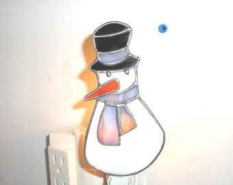 LT Stained glass white Snowman night light lamp with top hat, southwest scarf