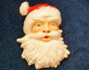 SALE Vintage plastic Santa Brooch,Father Christmas Pin