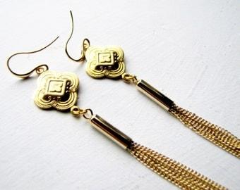 Tassel Earrings Long Gold Earrings Long Art Nouveau Earrings Duster Earrings Flapper Earring Great Gatsby Jewelry Gold Tassel Duster Earring