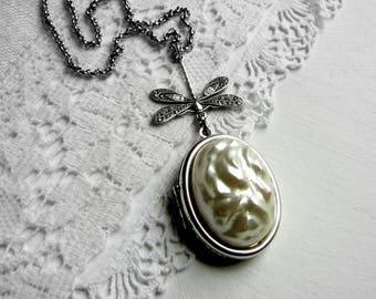 Silver Locket Photo Locket Vintage Locket Silver Dragonfly Locket  Art Nouveau Locket Picture Locket Victorian Locket Dragonfly Jewelry