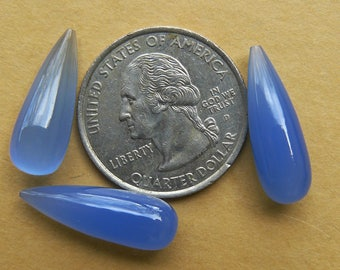 3 Blue Chalcedony Drop Beads 7x22mm Beautiful Translucent Pastel Blue with High polish
