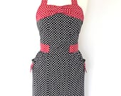 Retro Apron with bow, Black and white dots, 1950's vintage inspired apron.