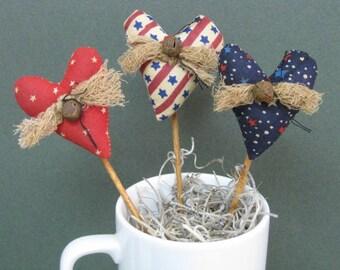 Americana Mini Heart Plant Pokes - Set of 3 - Primitive Patriotic Fabric Hearts - July 4th Crock Pokes - Primitive Country Home Decor