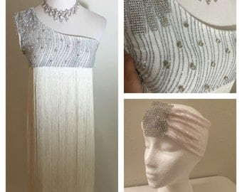 Sale Beautiful Silver Glitter Babydoll Style Fringe Flapper Rhinestone dress w Rhinestone Headband