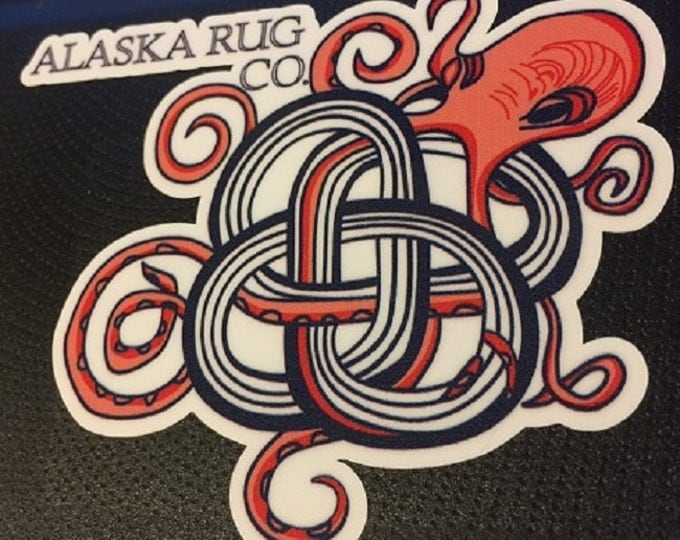 Octopus in Knotted Rug Sticker Logo Over laminated Die Cut Sticker