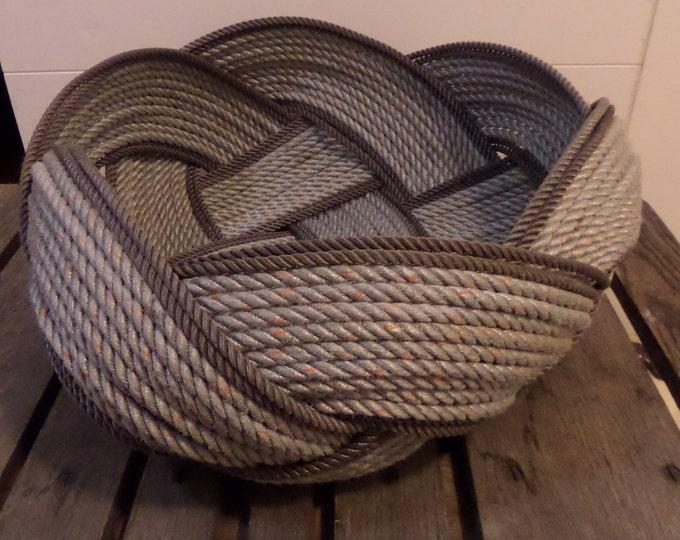 "Unique Rope Bread Basket Bowl 18 x 8 ""   Centerpiece Nautical Decor Made in Alaska Silver Brown"