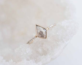 Silver Kite Rose Cut Diamond + Pavé Engagement Ring | 14k Recycled Gold | One of a Kind