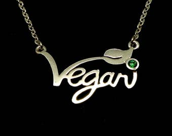 Silver Vegan Necklace Choker - Vegetarian Necklace, Vegan Jewelry, Vegan Gift for Vegetarian, Vegetarian Jewelry