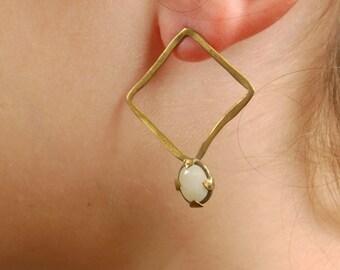 Geometric Asymmetric Stud Earrings, Big long Drop Earrings, Tribal Brass Aquamarine Gem Dangle Statement Earrings, Asymmetric Stud Earrings
