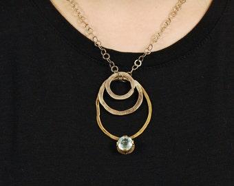 Gemstone Pendant Necklace, Tribal Links Necklace, Aquamarine Brass Silver Statement Necklace, Blue Aquamarine Boho Necklace, Gift for her