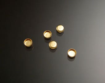 14k gold filled 3mm round non serrated bezel cups parcel of five