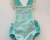 Mint and Lace Boho Bohemian Baby Girl Bubble Romper Bodysuit Playsuit