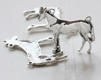4 Pieces / Horse / Oxidized Silver Tone / Base Metal / Charm (Y26084//K296)