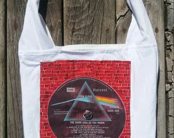 Pink Floyd Dark Side of the Moon repurposed tshirt purse tote bag The Wall Funky Remnants