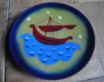 1960's Jean David Ship Design Enamel Dish by Mir-Hareli Israel