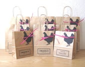 Hen party bag LARGE 22.5cm x 31.5cm x 10cm personalised brown paper gift bag with black hen tag and hot pink raffia
