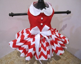 Dog Dress  Red Chevron