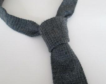 Gray Knit Necktie Vintage // Wembley SkinnyTie
