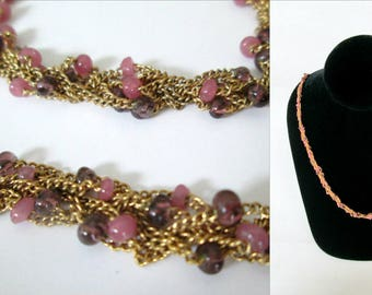 Napier Gold Multi-Chain Necklace Pink Purple Glass Beads 25 Inch Length Multi-Strand