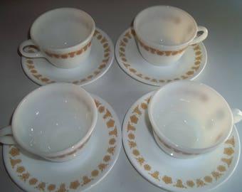 SUMMER SALE 4 Pyrex Cups Golden Butterfly Corelle Pattern matching Saucers