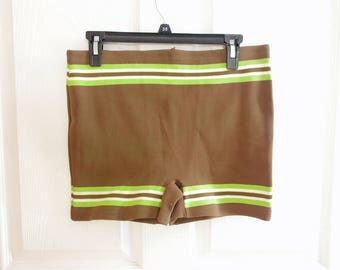 JM Fields Mens Swim Trunks * Brown and Green Swim Trunks * 50s Swim Trunks * 1950s Bathing Suit * Vintage Mens Swimwear