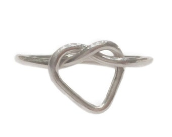 SALE Silver heart knot ring, love heart ring, custom knot heart ring, sterling heart knot ring, sterling silver heart ring