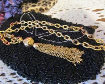 Pretty Gold Tone Tassel Chain Necklace 20 inch