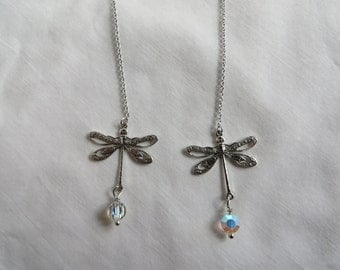 Dragonfly Dangle Earrings on Silver Chains, earrings, dangle, chain, silver, dragonfly